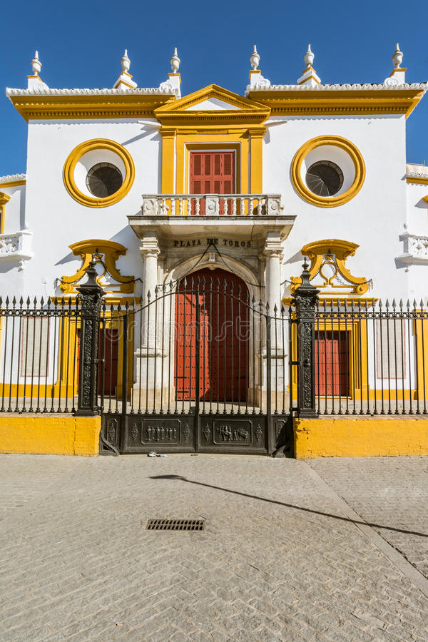 Entrance at the Bullfight arena, plaza de toros in Seville,La Maestranza royalty free stock photos