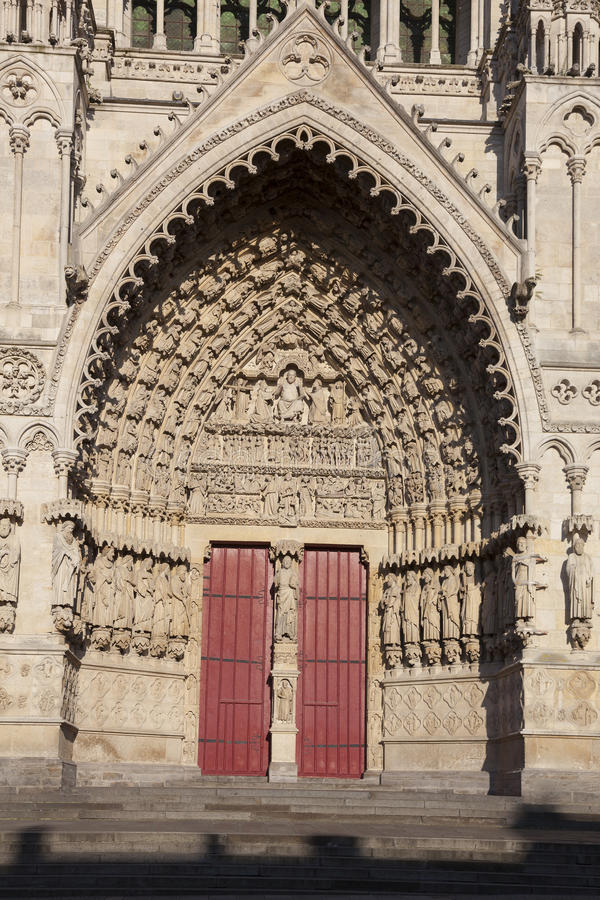 Entrance of the cathedral of Amiens stock photo