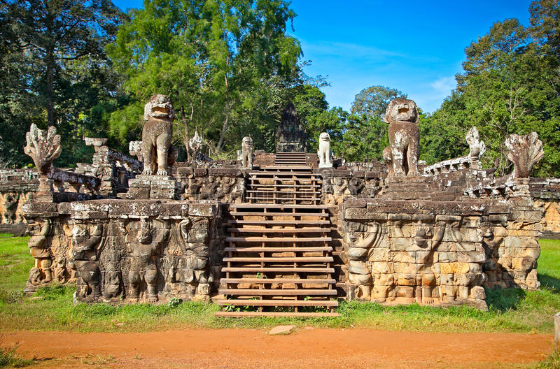 Entrance in celestial Phimeanakas temple,Cambodia. Terrace of the Elephants entrance in celestial Phimeanakas temple, Angkor Thom, near Siem Reap, Cambodia royalty free stock image