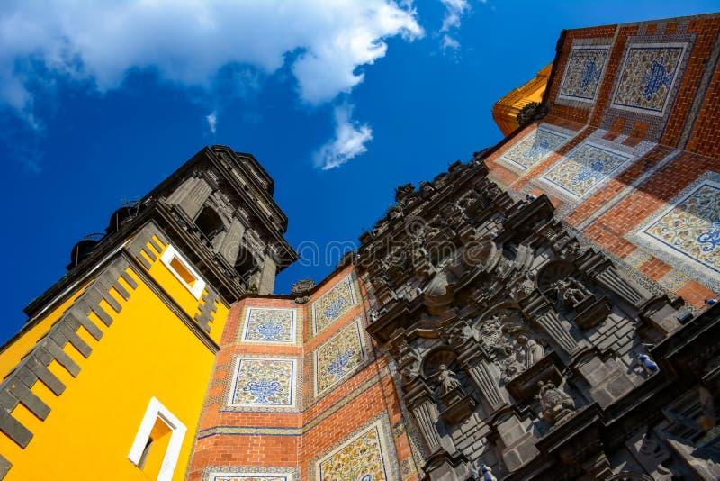 Entrance of the Church of San Francisco in Puebla Mexico royalty free stock photos