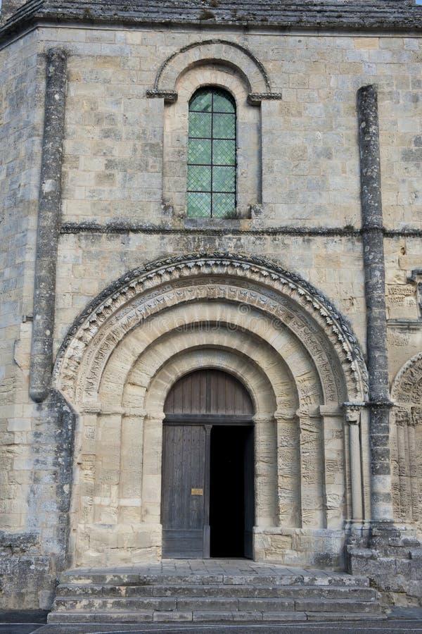 Entrance of Collegiate Church - L`église cóllegiale de St. Emilion , France royalty free stock image