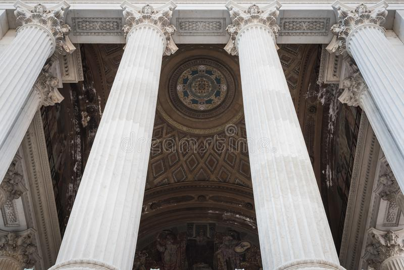 Entrance columns of the Vittorio Emanuele II monument in Rome royalty free stock image