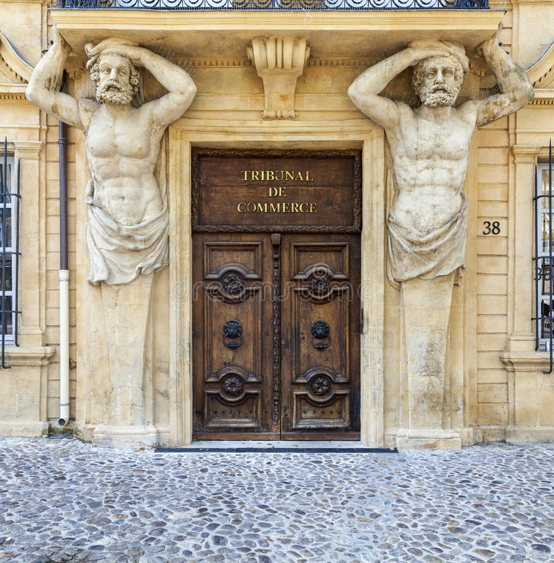 Entrance of the commercial court in Aix en Provence royalty free stock photo
