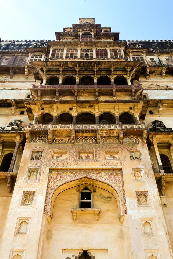 Entrance of Datia Palace in India. The image was captured at Datia Palace / Bir Singh Palace in Datia, Madhya Pradesh, India. It depicts the entry gate of the royalty free stock photography