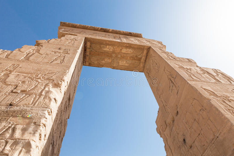 Entrance of dendera temple. Near The Kane Town In Egypt stock images