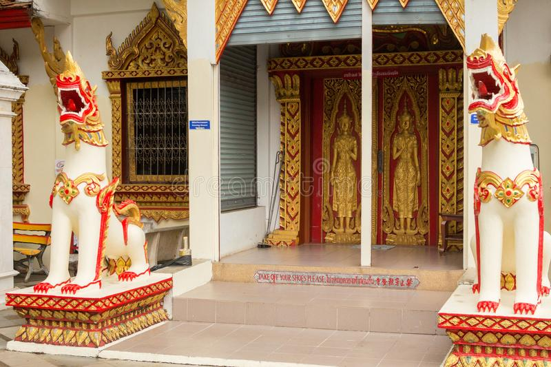 Entrance of Doi Suthep Temple protected by two statues of dragon royalty free stock images