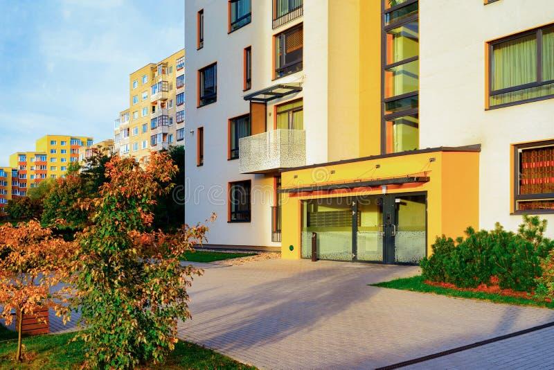 Entrance door into apartment residential modern house building exterior royalty free stock photos