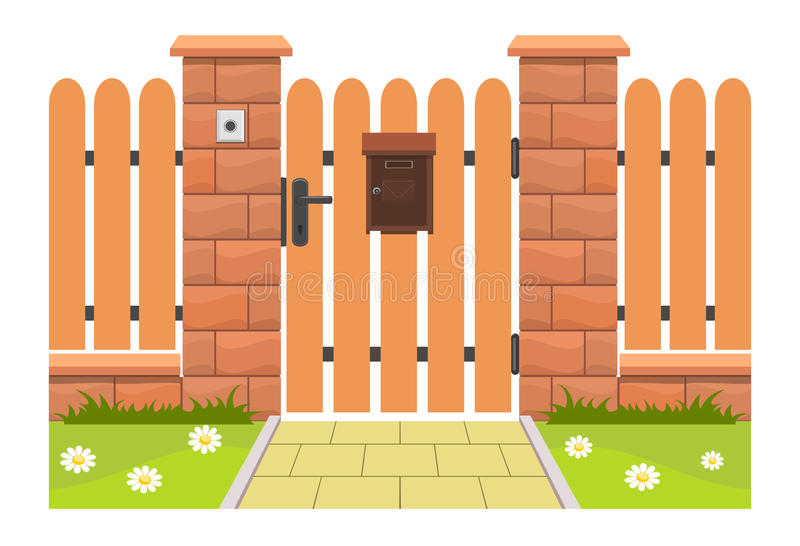 Entrance door with mailbox stock illustration