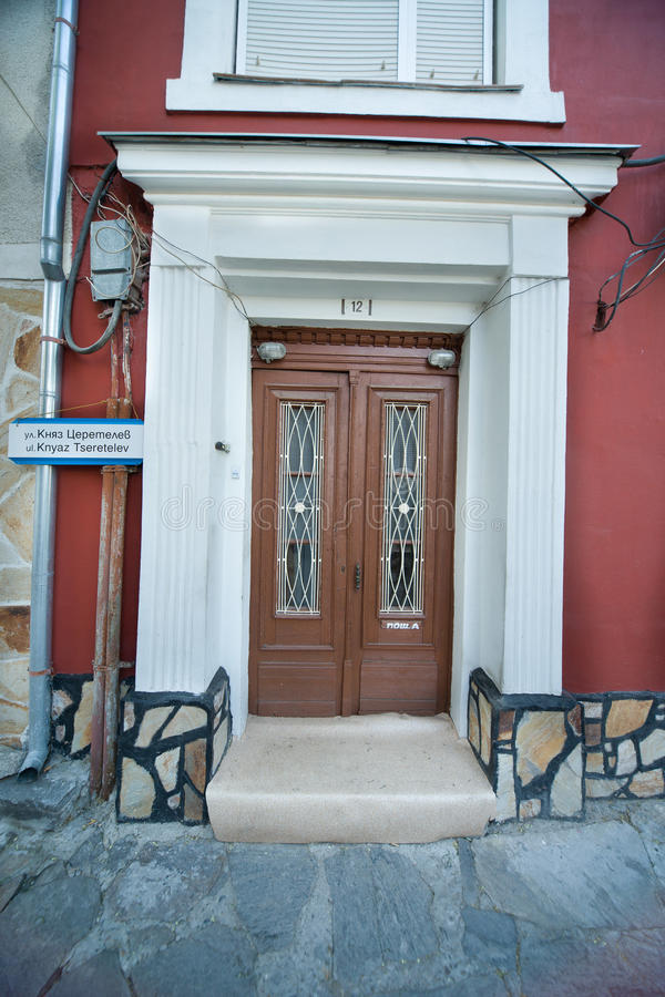 The entrance door in an old house in Plovdiv in Bulgaria stock photography