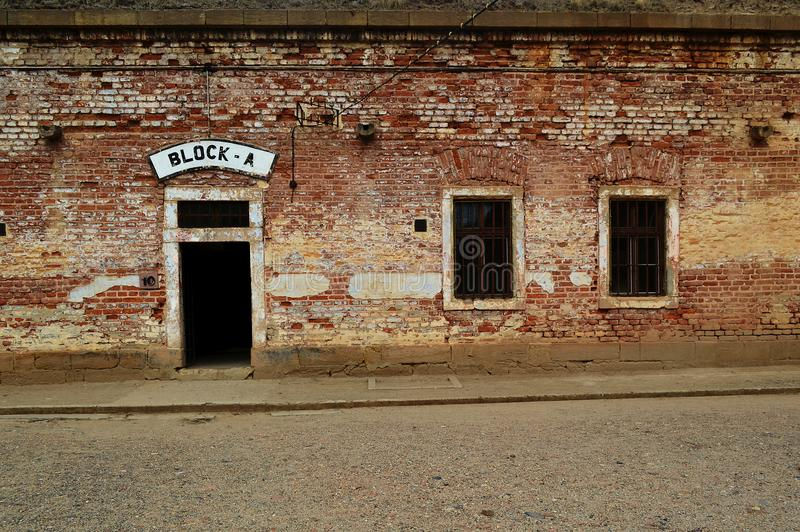 Entrance door and windows to the Block A at Terezin concentration camp Czech Republic. Entrance door to the Block A at Terezin concentration camp. Theresienstadt stock image