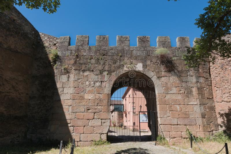 Entrance in the wall to the town of Granadilla stock photos