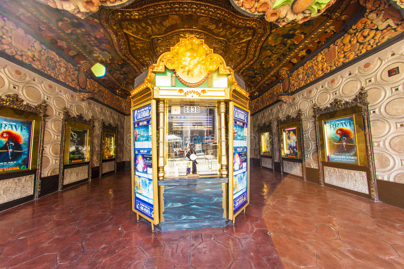 Entrance of El Capitan Theatre in Hollywood. HOLLYWOOD, CA- JUNE 26: entrance of El Capitan Theatre, June 26, 2012 in Hollywood,CA. In the 1940s, 1735 Vine was royalty free stock photography