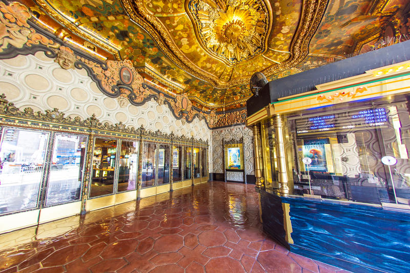 Entrance of El Capitan Theatre in Hollywood. HOLLYWOOD, CA- JUNE 26: entrance of El Capitan Theatre, June 26, 2012 in Hollywood,CA. In the 1940s, 1735 Vine was royalty free stock photo