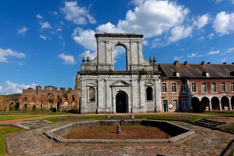 Entrance facade Abbey Aulne Thuin Landelies, Belgium royalty free stock image