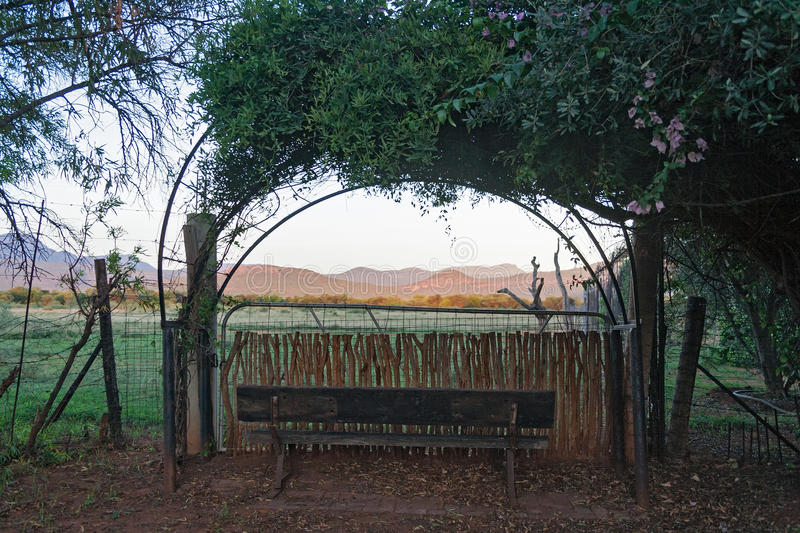 Entrance of a farm in the south of Marakele National Park, South Africa. Side entrance of a farm in the south of Marakele National Park, South Africa royalty free stock photo