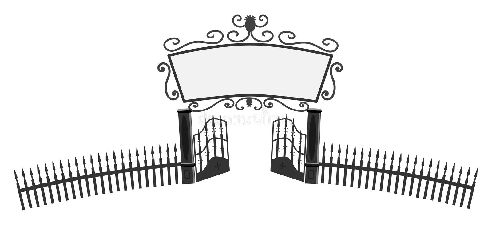 Entrance gate. With big sign on top royalty free illustration