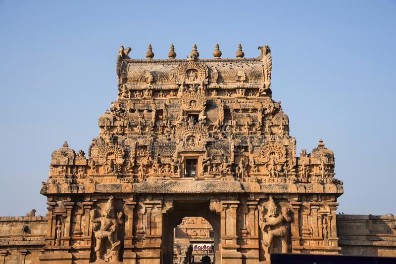 Entrance gate or Gopuram. Brihadishvara Temple, Thanjavur, Tamil Nadu. India royalty free stock photo