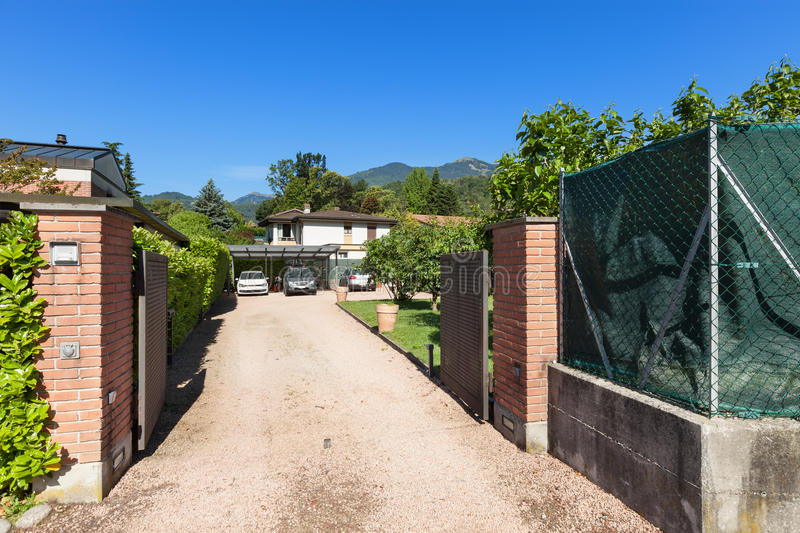 Entrance gate of a house. Outdoor stock photo
