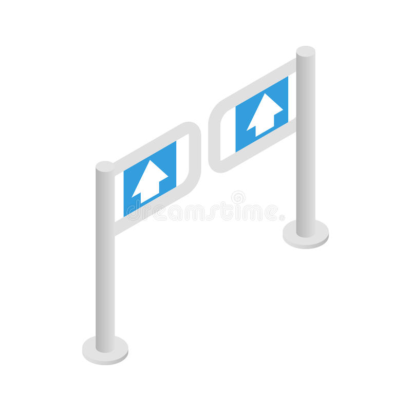 Entrance gate icon, isometric 3d style. Entrance gate in supermarket icon in isometric 3d style on a white background royalty free illustration