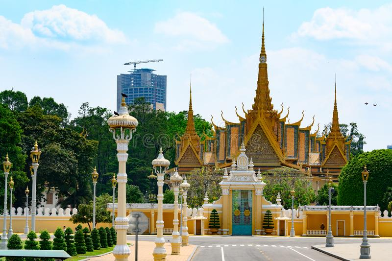 Entrance gate and Royal Palace in Phnom Penh, Cambodia. Temple in the complex of the residence of the Emperor of Cambodia. stock images