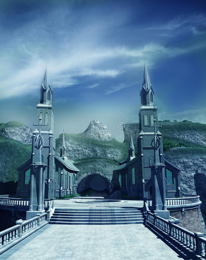 Entrance gate to fantasy castle stock illustration