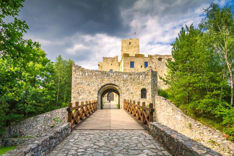 Entrance gate to the medieval castle Strecno nearby Zilina town royalty free stock photography