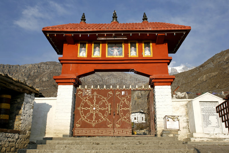 Entrance gate to muktinath temple,. Annapurna, nepal stock photos