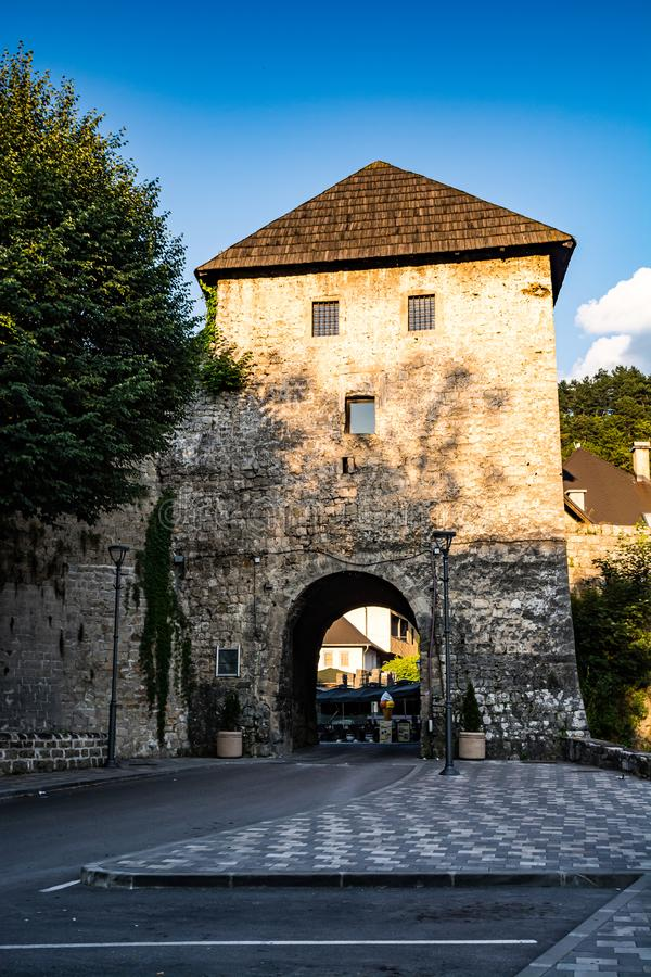 Entrance gate to the old town in Jajce, Bosnia and Herzegovina.  stock images