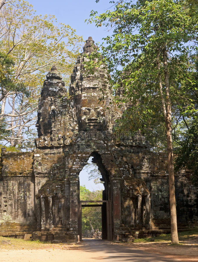 The entrance gate to the temple of Angkor Thom royalty free stock images