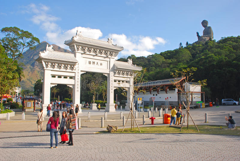 Entrance Gate to Tian Tan Buddha. With many tourists stock images