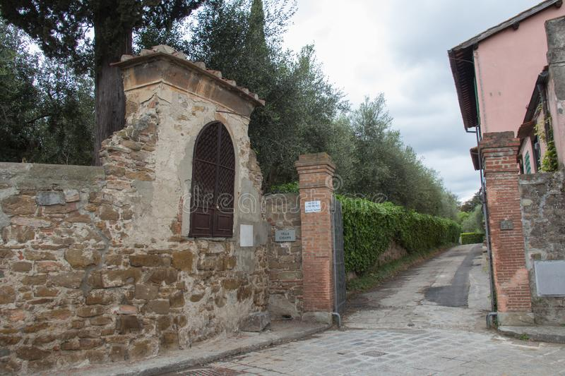 Entrance gate to typical Italian house Villa Chiappi, Florence, Italy stock images