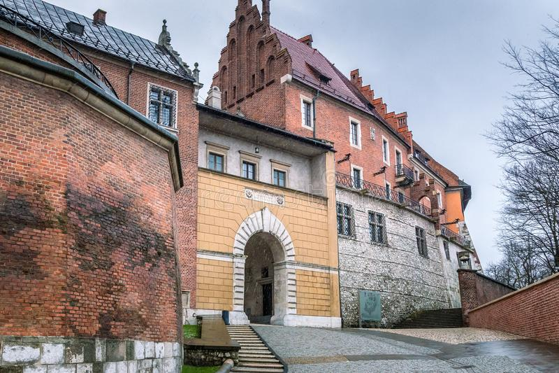 Entrance gate to The Wawel castle in Krakow. royalty free stock image