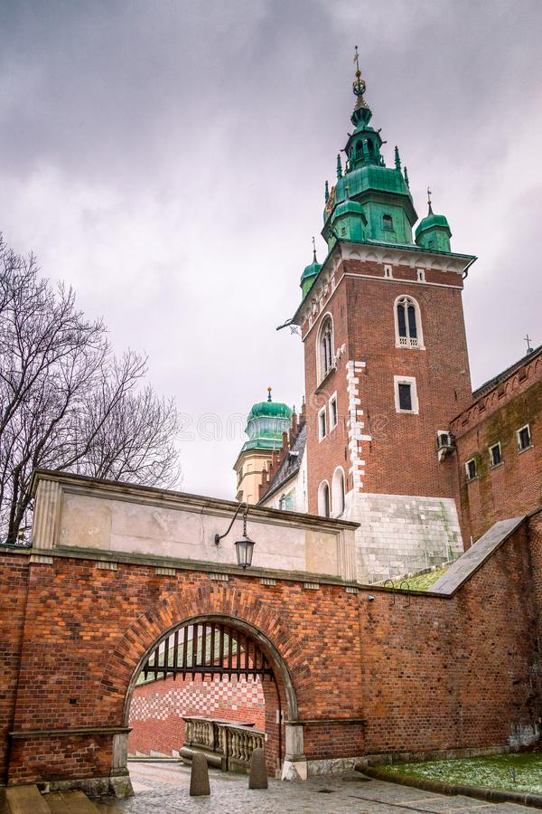 Entrance gate to The Wawel castle in Krakow. royalty free stock images