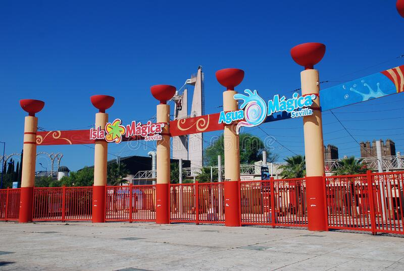 Isla Magica entrance, Seville royalty free stock images