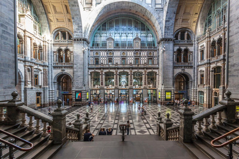 Entrance Hall of the Antwerp Main Train Station royalty free stock photos