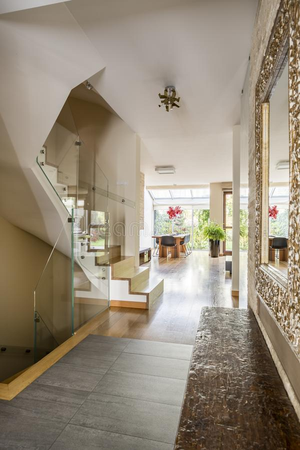 Entrance hall in luxurious home royalty free stock photography