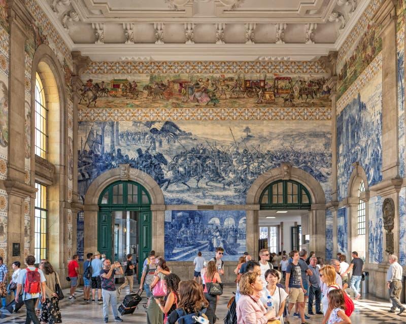 Entrance Hall, Sao Bento Railway Station, Porto, Portugal. royalty free stock images