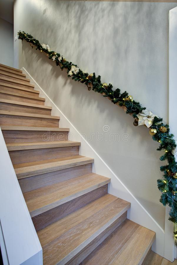 Entrance hallway interior with detail view of the staircase royalty free stock photography