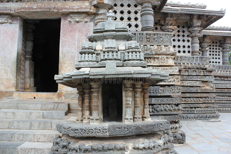 Entrance of Hoysaleswara Temple stock image