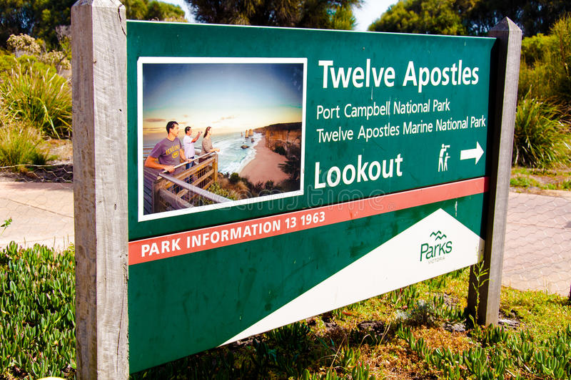 Entrance information sign atTwelve Apostles, Port Campbell National Park, Australia. Port Campbell National Park, Victoria state, Australia - February 19, 2015 stock image