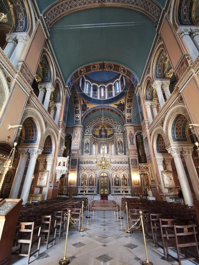 Entrance interior of Metropolitan National Church in Athens. Murals, page, painting, stage, front, row, podium, cathedral, internal, architectural, building stock photo