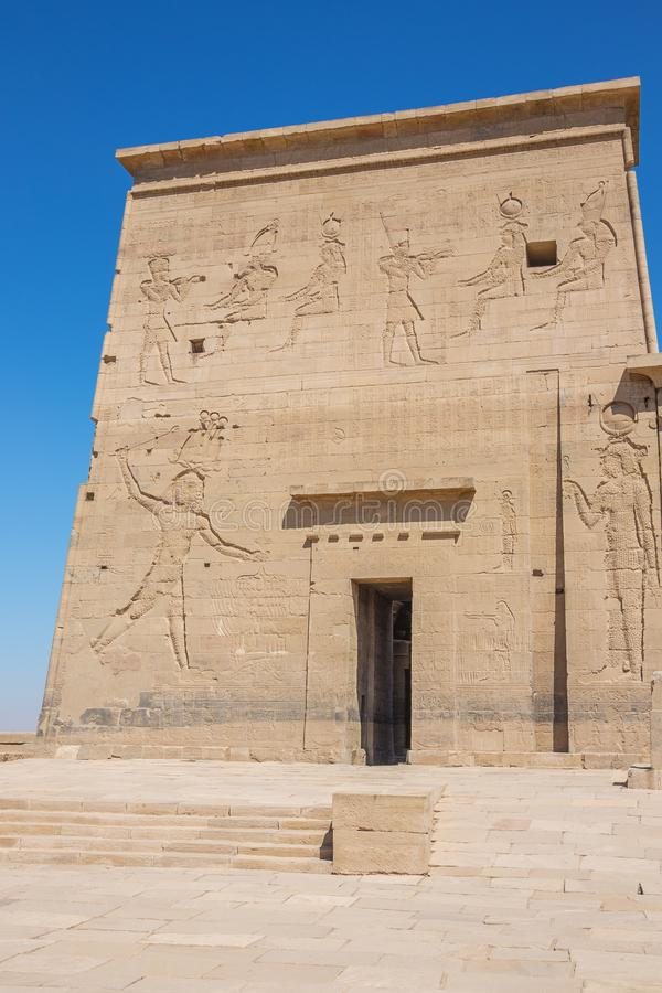 The entrance of the Isis temple. On Agilkia island stock photography
