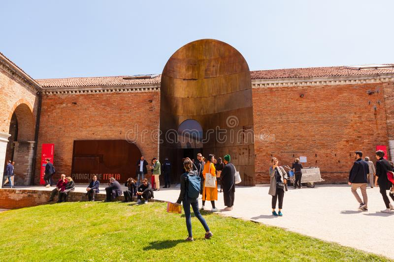 Entrance of the Italian pavilion at the Arsenale during the 58th International Art exhibition of Venice biennale, 2019 stock images