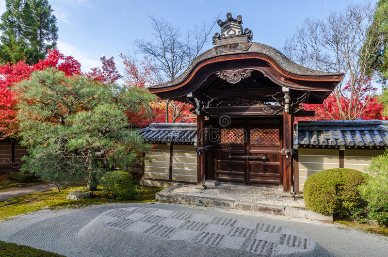 Entrance of Japan temple. In Kyoto stock photo