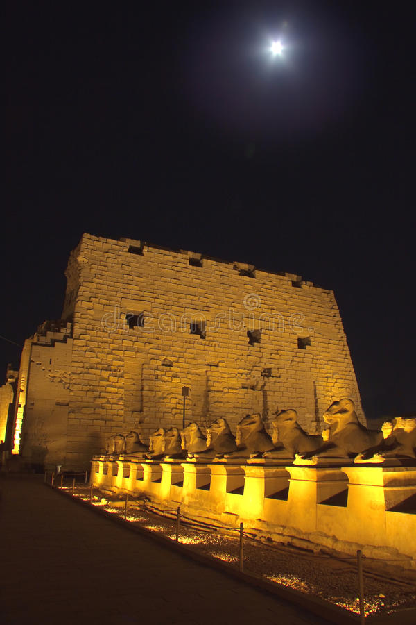 Entrance of Karnak at Night royalty free stock images