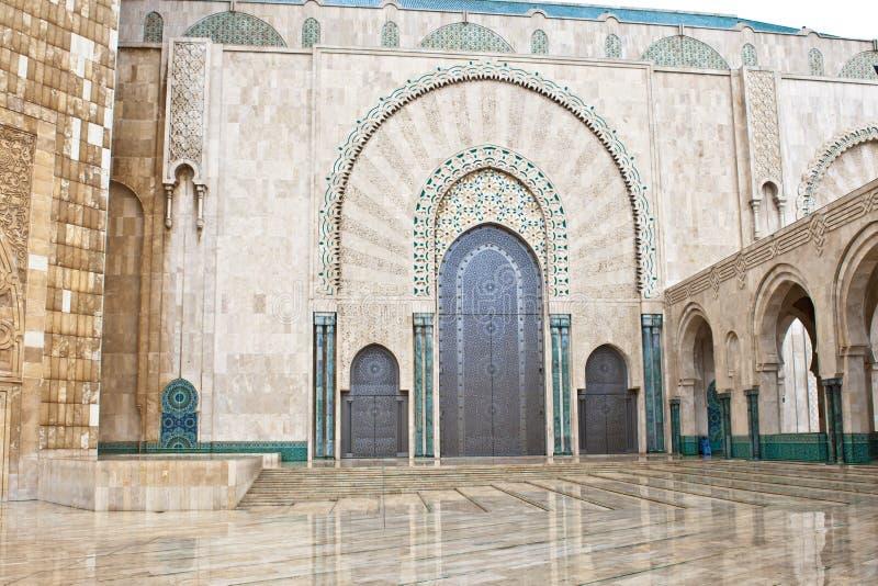 Entrance King Hassan II Mosque, Casablanca stock photo