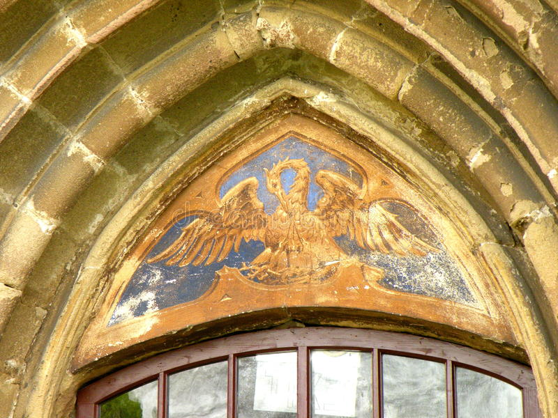 Entrance in the Kirchenburg (Harman) fortified church royalty free stock images