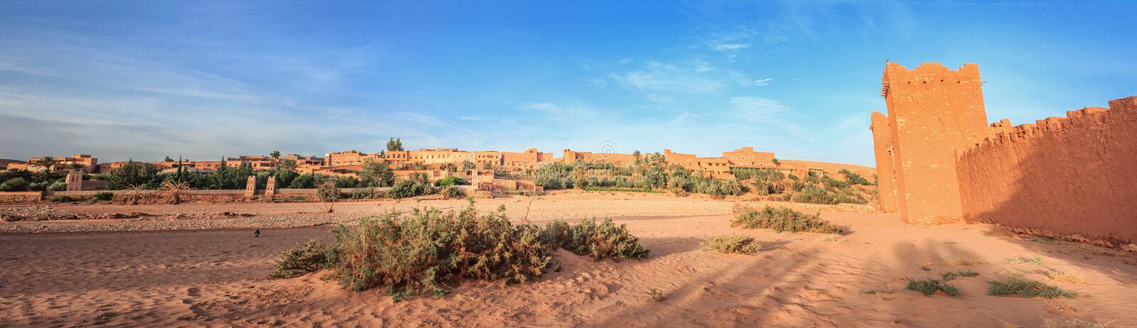 Entrance of ksar Ait Benhaddou, Ouarzazate. Ancient clay city in Morocco.  royalty free stock images