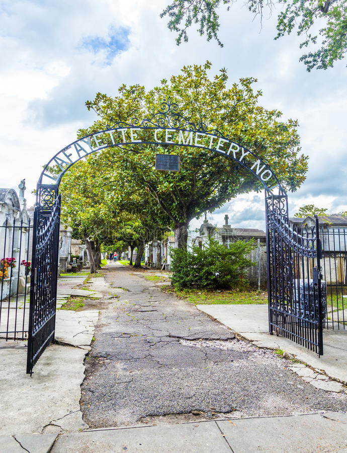 Entrance of the Lafayette cemetery in New Orleans. Entrance of the Lafayette Cemetery No. 1. It was established in 1833 and is located in the Garden District of royalty free stock image