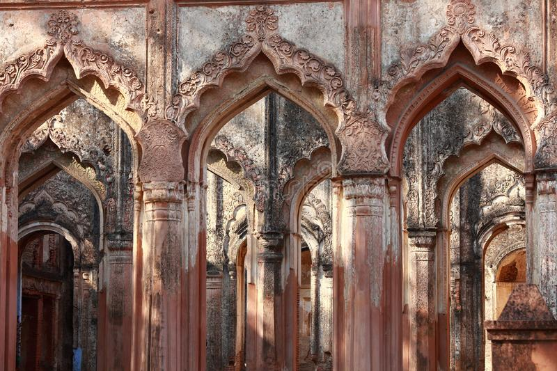 Entrance  made of Decorative Arches and Patterned Pillars - Ancient Indian Architecture royalty free stock photos